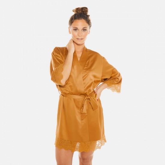 Сатенен халат в цвят горчица EFFRONTEE by CAMILLE CERF