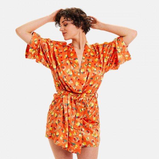 Сатенен халат в оранжево NOUMEA