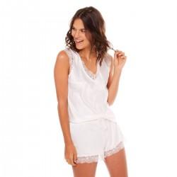 Бяла сатенена пижама DALLAS NEIGE