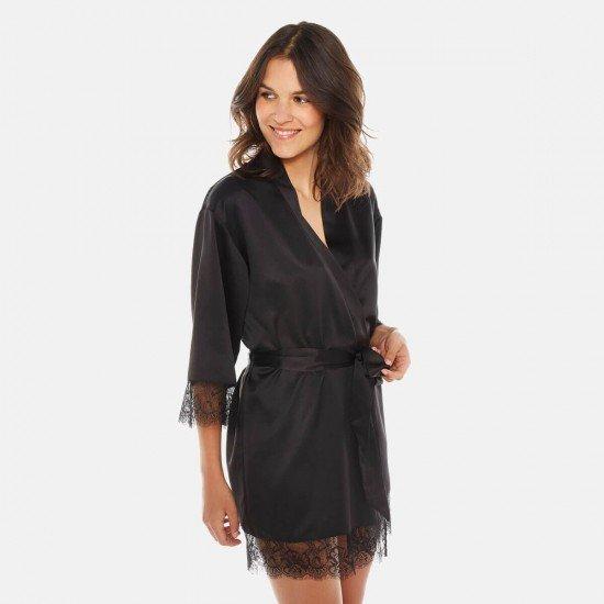 Черен сатенен халат NOIR DALLAS